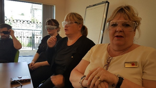 Image of staff wearing simulation specs